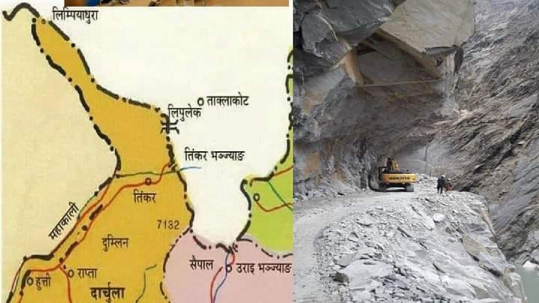 महाकाली तिरमा भारतले सडक बनाउँदा नेपालतिरको बाटोमा क्षति